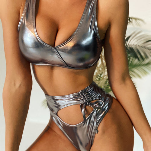 Metallic Cut-out High Waisted Bikini Swimsuit