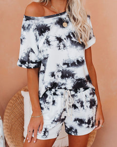 Casual Two Pieces Tie Dye Women Set T-shirt and Shorts Fitness Set