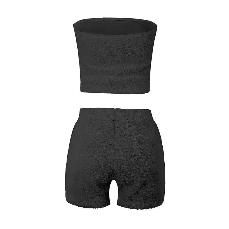 Women Solid Color Plush Crop Tops and Pants Two-piece Set