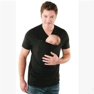 Multifunction Shirts Plus Size Baby Carrier Clothing Kangaroo T-Shirt For Father Mother With Baby Short-sleeve Big Pocket Tops