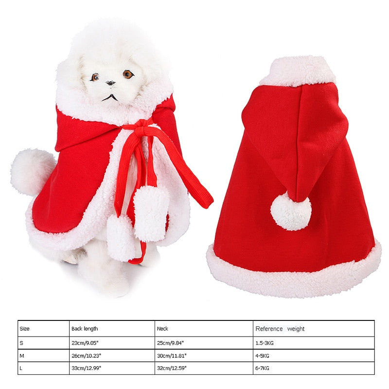 Pet Christmas Hooded Cloak Cute Cats Dogs Xmas Costume Winter Christmas Clothes Small Animal Hooded Cloak Fashion Dog Cat Cloth