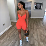 NCLAGEN Summer Sleeveless V Neck Bodycon Rompers 2020 Women Streetwear Fitness Spaghetti Strap Playsuit Short Jumpsuit Outfit