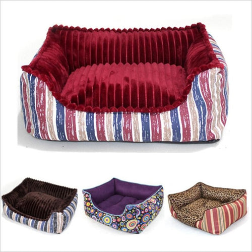 Full detachable style canvas square kennel Super Soft short plush Winter Warm Cat nest with removable cushion Pet nest mattress