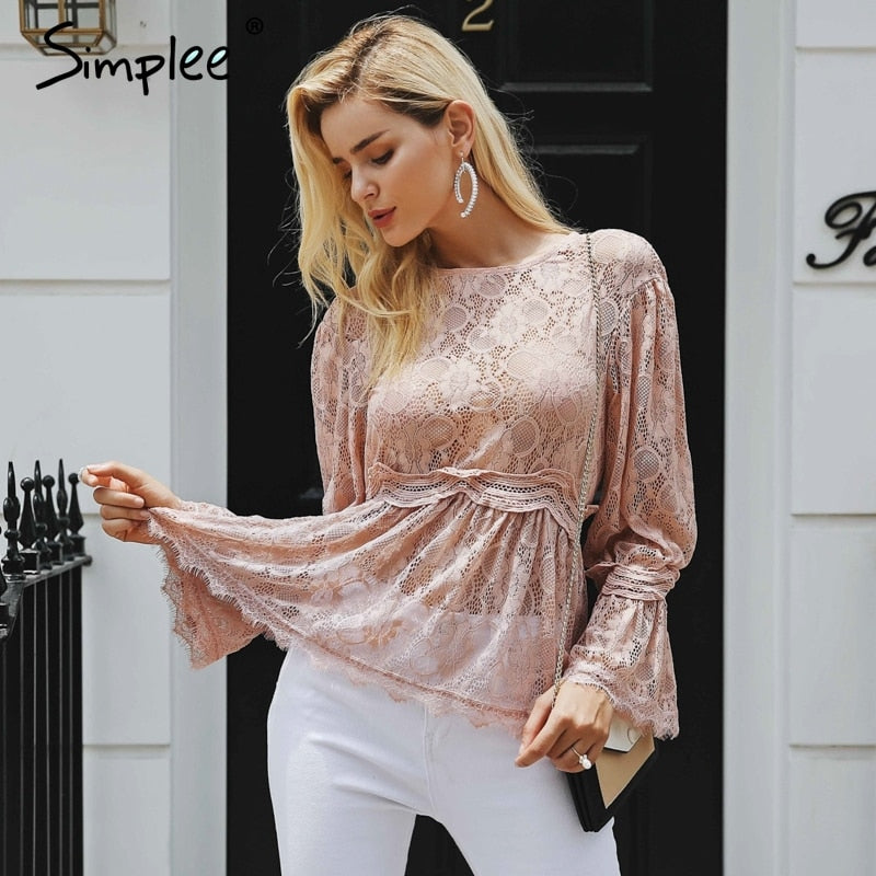 lace embroidery peplum blouse shirt women Elegant ruffles flare sleeve white blouse female Casual hollow out summer tops