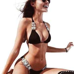 Shiny Diamond Swimsuit Crystal Bikini Women Brazilian Swimwear Female Halter Two pieces Bikini Set Rhinestone Bathing Suit