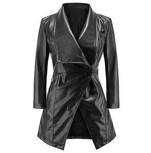 Women Medium long sleeves Coat autumn winter large lapel leather Temperament Buttons PU jacket