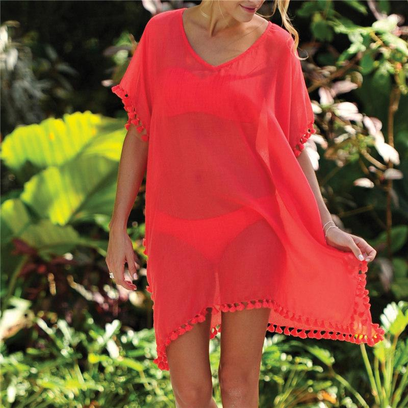Beach Dress Sexy Cover-Up Chiffon Bikini Kaftan Pareo Sarongs Swimwear Tunic Swimsuit Bathing Suit Cover Ups