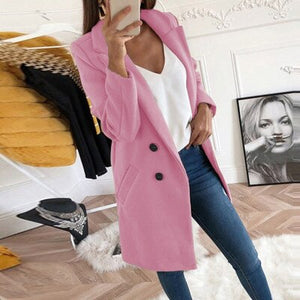 Plus Size Autumn Winter Wool Coat Women Elegant Blazer Ladies Cashmere Womens Coats Office Solid Medium Long Section Camel Coat