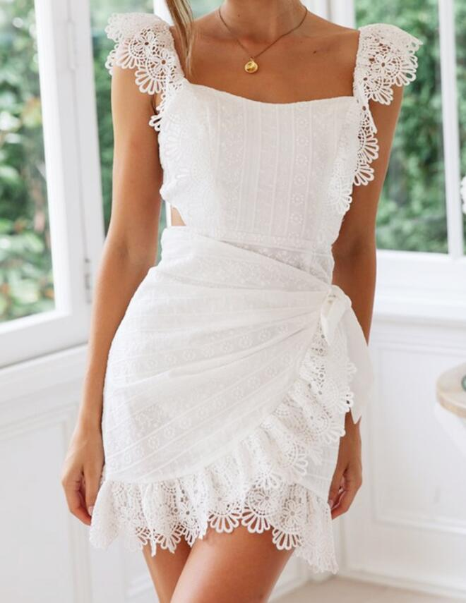 White Lace Backless Summer Dress Women Sexy Elegant Bodycon Party Dress Embroidery Hollow out Short Mini Dress