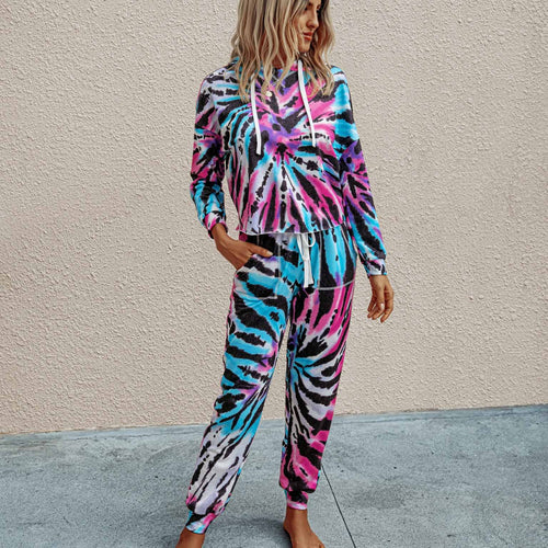 Women Set Tie Dye Long Sleeve Top Shirt O Neck And Pants Tracksuit Two