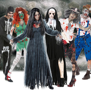 Scary Halloween Costumes for Adult Men Zombie Nurse Nun Bloody Ghost Bride Middle Ages Women Fancy Dress Cosplay Costumes