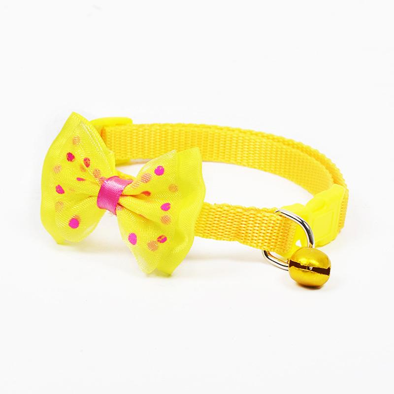 Adjustable Polyester Dog Collars Pet Collars With Bowknot Bells Charm Necklace Collar For Little Dogs