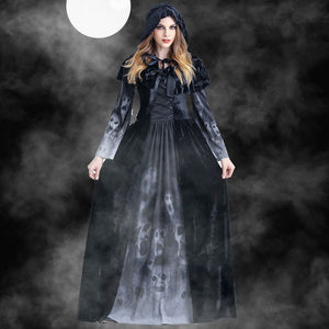 Women Halloween Cosplay Costume Vintage Witch Long Sleeve Maxi Dress