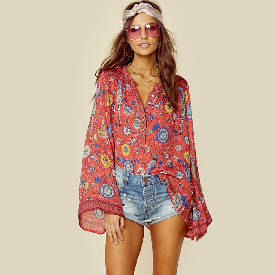 RED Boho Blouse Spring Birds Floral Print Blouses Vinatge O Neck Flare Long Sleeve Bohemia Women Blouses Hippie TOP