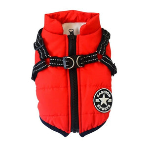 Autumn Winter Pet Skiing Costume Sleeveless Cotton Padded Vest With Durable Chest Strap Harness Clothing  Coat Supplies