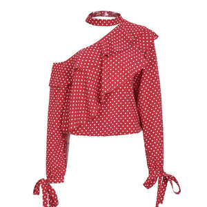 One shoulder polka dot blouse shirt Ruffle lantern sleeve vintage chiffon blouse Sexy bow women summer blouses