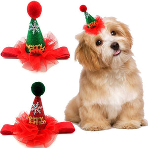 1 Pcs Puppy Dog Caps With Headband Handmade Adjustable Pet Christmas Hat Cute Headwear Cap Christmas Party Pets Accessories