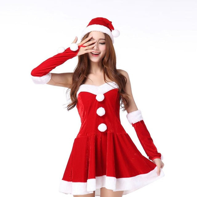 2017 New Style Ladies Santa Costume Women Christmas Party Fancy Two Parts Dress Cosplay Suit sexy winter dress vestido de festa
