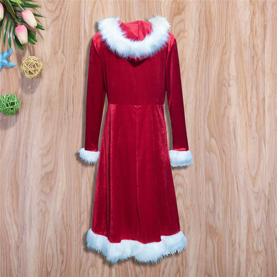 Christmas Mother Daughter Red Dress Santa Velvet Family Matching Clothes Happy New Year Party Vestidos WDC1669