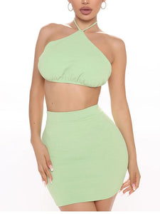 Green Crop Tops And Mini Skirts Sets Women Sexy Halter Backless Party