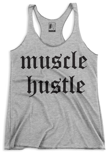 Muscle Hustle Heather Gray Racerback Tank Top