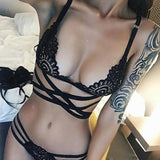Sexy Lingerie Bra Panties Women Exotic Lace g-String Thong Brief Strap Cross Hollow Out Bikini Bras Underwear Women Lingerie Hot