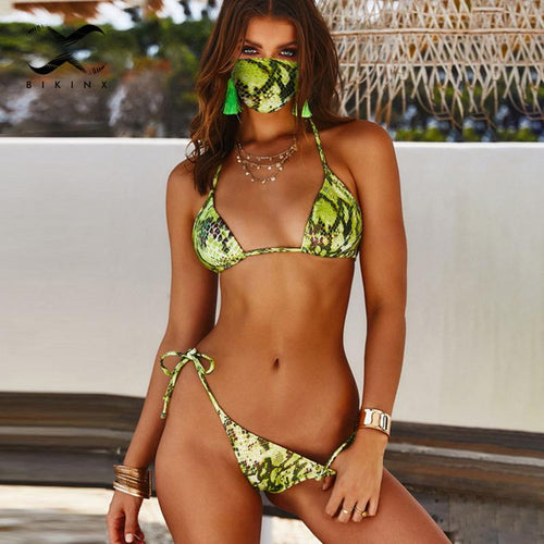 Triangle Bikini with Masks Snake Print Swimsuit