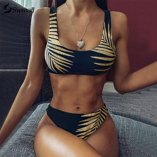 premier Tropical Leaves Print Bikini Set Women Swimsuit
