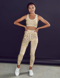 Pale Gold Leopard Print Fitness Set