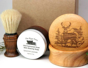 Engraved Shaving Set - Shaving Soap, Brush & Engraved Mug - Bass