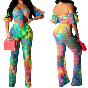 2019 summer colorful print hollow out beach cover ups set sexy women off shoulder top+ long pants bikini swimwear cover up 2PCS
