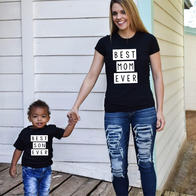 1pcs Mommy & Me Tee Shirt Best Mom Ever Best Son Ever Mama and Son T Shirts Summer Family Matching Clothes Mother & Kids Outfits