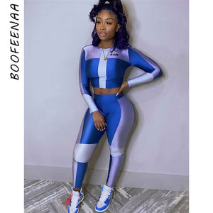 BOOFEENAA Sexy Tracksuit Women Clothes Two Piece Set Blue Bodycon Outfits Sweat Suits Sports Matching Sets Spring 2020 C87-EZ27