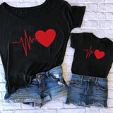 Cute Mother And Daughter Clothes Mother Daughter Matching Red Love Printing T Shirt Family Matching Outfits Mommy And Me Clothes