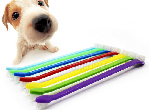 1000pcs/lot Fast Shipping Wholesale Duel Head Pet Tooth Brush Dog Cat Dental Grooming Toothbrush Cleaning Brush