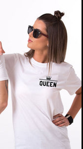 2019 New Fashion Summer Couple Clothes King Queen Letter Printing Women Men T Shirt Funny Matching Lovers Short Sleeve Tees Top