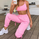 BOOFEENAA Pink Sexy Two Piece Set Crop Top and Cargo Pants Suits Streetwear Tracksuit Women Summer Clothes Matching Sets C68DH25