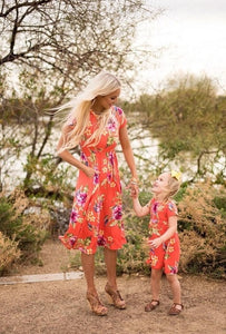 Mother Daughter Dress Clothes Printing Flowers Europe and America Family Matching Outfits Women Girl Summer Dresses Fashion