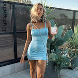 Cryptographic Sleeveless Backless Straps Mini Dress Slim Summer Outfits Party Club Solid Sundresses Holiday Clothes