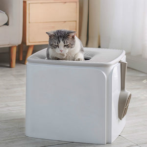 Square Closed Self Cleaning Cat Litter Box Gray Training Cats Litter Shovel Lettiera Gatto Chiusa Pet Products Large MM60MSP