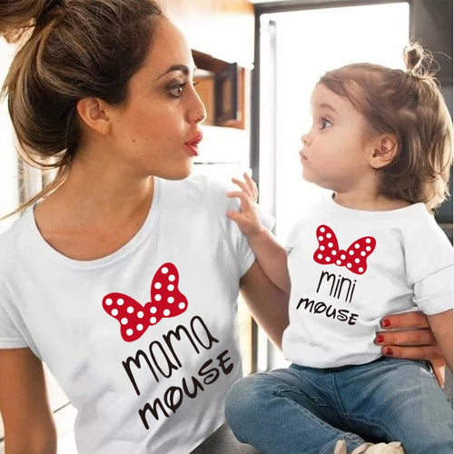 Cotton family matching clothes Outfits Mother And Daughter T-Shirt  Mommy and Me Clothes lovely Blouse kids baby girl boys Look