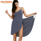 Bath Towel Bathrobe Striped Beach Dress Wrap Women Bath towels Fast Dry Sling Clothes robe de plage beach dress Holiday Swim