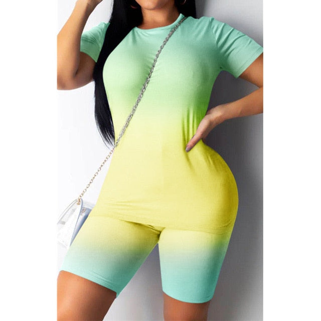 2020 New Sexy Short Two Piece Set Crop Tops and Biker Shorts Gradient Bodycon Matching Sets Summer Sportwear Clothes for Women
