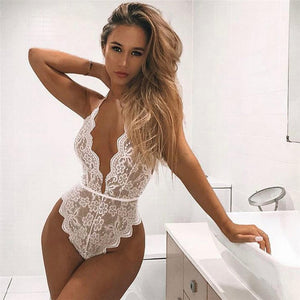 Sexy 3 Colors Lingerie One Piece Women Lace Bra Set Deep V Hot Erotic Sexy Hollow Underwear Halter Open Bra Transparent Lingerie