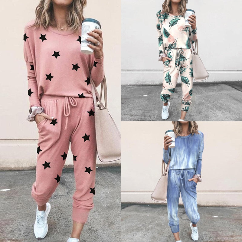 XUANCCOL 2 Piece Set Tracksuit Women Printed Flowers Tie-dy Two Piece Set Top and Pants Femme Clothes Long Pants Set Lounge Wear