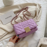 Chain Design Solid Color PU Leather Crossbody Bags For Women 2020 Summer Elegant Mini Travel Shoulder Handbags and Purses