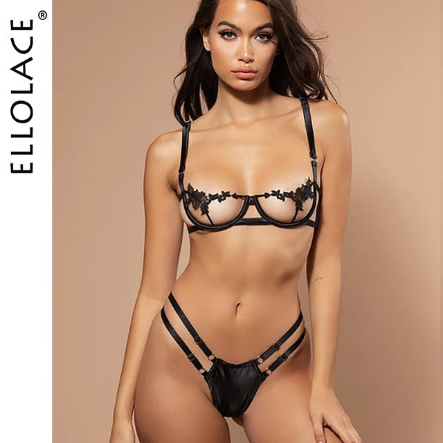 Ellolace Sexy Lingerie Women's Underwear Set See Through Brassiere Lingerie Set Sexy Lace Underwear Bra and Panty Set Wholesale