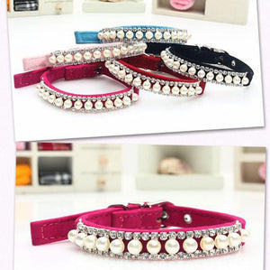 72 pcs/lot Bling Pearl Pet Necklace Dog Collar Rhinestone Crystal Cat Collar Safety Diamond Necklace