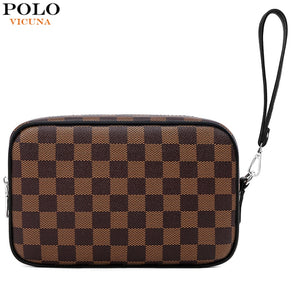 VICUNA POLO Brand Design Mens Clutch Wallet Large Capacity Plaid Design Clutch Handbag With Card Holder Purse Dropshipping