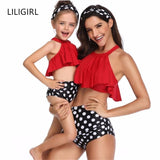 LILIGIRL New Mommy and Me Cute Dot Swimsuit Bikini for Family Mother Daughter Matching Summer Clothes Outfits mae e filha Placa